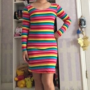 Dresses & Skirts - Rainbow bodycon striped dress XS-S